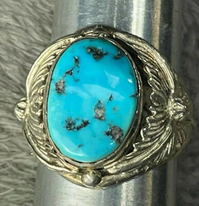 PATRICK YAZZIE ENGRAVED 925 STERLING SILVER TURQUOISE RING 18 GRAM WEIGHT