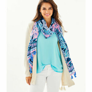 New Lilly Pulitzer High Tide Navy Party In Paradise Engineered Scarf Wrap