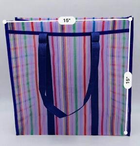 "Mexican Market Mesh Handle Bag Rausable Tote Bolsa De Mercado 15"" Purple Stripes"
