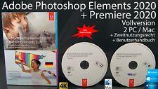 Adobe Photoshop Elements 2020 + Premiere 2020 VERSIONE COMPLETA BOX + DVD WIN/MAC NUOVO