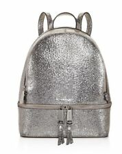 b8fa33a020766 NWT MICHAEL Michael Kors Rhea Zip Metallic Silver Medium Size Leather  Backpack
