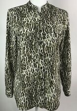 Notations Women's Button Down Blouse Animal Print Tab Sleeves Size PM Medium