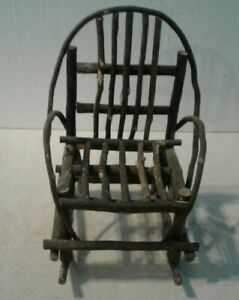 """Vintage rustic primitive wood branch doll bear Rocking Chair 14"""" tall x 9"""" wide"""