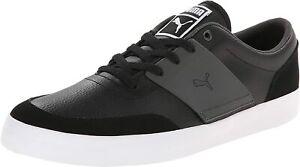 Puma Men's El Ace 4 lace-up Black/Dark Shadow/White Leather Shoes 358198 03