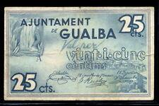 096-INDALO- Gualba, Barcelona. 25 Céntimos Mayo 1937. MBC !!!!!!!!!!!!!!!!!!!!!!