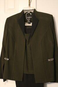 Womens Business Suit 3pc Positive Attitude Jacket Pants Top Black Olive sz10 EUC