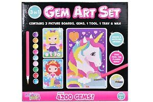 Gem Art Set 3D Diamond Painting Childrens Kids Crafting Kit Set Craft 5 Designs
