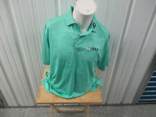 Vintage Footjoy Golf Nbc Golf Sewn Logo Turquoise Large Collar Polo Shirt