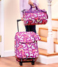 Luggage Set For Girls Colorful Butterfly Print Fabric Tote Bag Rolling Suitcase