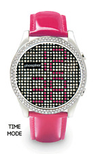 Phosphor Appear Swarovski Pink Crystals Mechanical Digital Watch MD003L