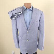 EUC Saddlebred Men's 2 Piece Cotton Suit - Light Blue - Size 44R Pants 38x32