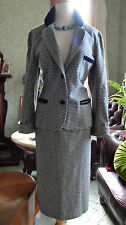 PURE WOOL VINTAGE SKIRT SUIT WRAGGS 1970'S SYDNE CHECK PLAID HERRINGBONE VELVET
