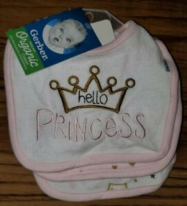 GERBER Cotton 3-Pack Baby Girl's Bibs Pink - Princess - One Size Fits All NEW