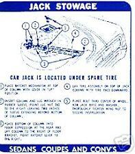 1967  GTO/LEMANS JACK STOWAGE  INSTRUCTION DECAL