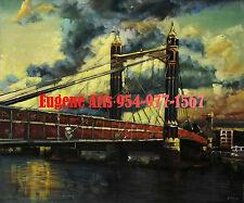 "20x24""Hand Painted Oil Flat.Impressionist , Impressionism, New York City, Bridge"