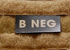 B NEG Blood Type IR Patch Infrared US Army Navy Air Force SEAL USN USAF Hook