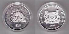 SINGAPORE - 2 OZ SILVER 10$ UNC COIN 1998 YEAR KM#165 TIGER + COA