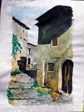 ✅Acquerello '900 su carta Watercolor-Scale Borgo Vecchio-firmato A.Bergamo (68)