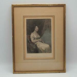 Vintage Antique Colored Etching The Marchioness Sally McKean Framed