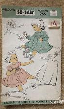 VINTAGE 1950S WELDONS SO EASY  PATTERN FOR BABY GIRLS DRESSES - AGE 1-2