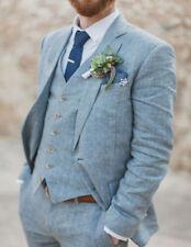 Light Blue Linen 3 Pieces Best Man Suit Formal Groomsman Men Wedding Prom Tuxedo