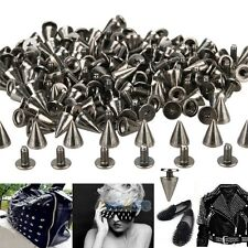 100x 10mm Black Spots Cone Screw Metal Studs Leathercraft Rivet Bullet Spikes