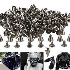 100x 10mm Black Spots Cone Screw Metal Studs Leathercraft Rivet Bullet Spikes