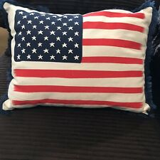 "Decorative 15 x 11"" Canvas Throw Pillow American Flag Stars & Stripes"