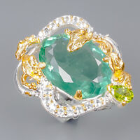 Fluorite Ring Silver 925 Sterling Jewelry handmade Set Size 8.5 /R147229