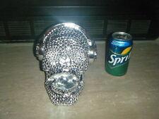 MEDIUM SILVER BEADED DIAMOND RESIN HUMAN SKULL WITH HEAD SET SINGING SUPER RARE!