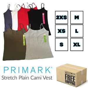 Primark Ladies Stretch Plain Cami Vest Adjustable Strap Top Size 6 8 10 12 14 16