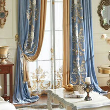High-quality embroidered velvet thick blue cloth curtain valance drape C129