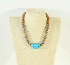 """Unisex HANDMADE Folk Art Wood Oak & Turquoise Stone Pendant Necklace 18""""-46cm"""