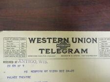Movie letterhead Western Union telegram to Palace theatre mechanism 12/24/1920