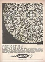 1962 Original Advertising' Sabena Belgium Airlines Company Aerial Lace