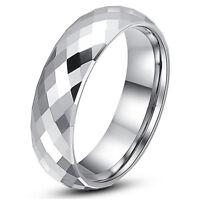 Tungsten Carbide Men/'s Brushed Six Lab Diamond 8MM Wedding Band Wedding Ring M92