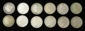 (12) 1883 -1912 UNITED STATES LIBERTY V NICKEL 5C 12 VF / XF COIN LOT