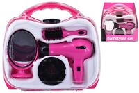 Girls Pink Battery Operated Hairdryer Set Play Toy In Carry Case Christmas Gift