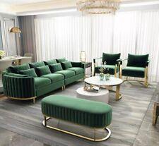 Designer Luxus Couch Grün Set Polster Garnitur Textil Samt Stoff Sofa 311 Sitzer