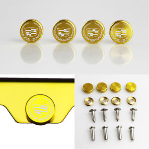 Laser Etched 4 Gold Aluminum New Cadillac License Plate Frame Bolts Screw Cap