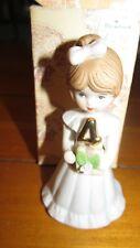 Vintage 1982 Enesco Growing Up Birthday Girls Brunette Porcelain Figurine, Age 4