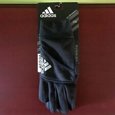 ADIDAS Mens Active Running Black Gloves W Climawarm & Reflective Logo (L/XL) NWT
