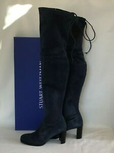 Stuart Weitzman $865 NEW Tipland Over the Knee Tall Boots Blue Suede Size 7.5
