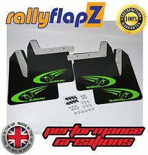 Qty4 Mud Flaps & Fixings SUBARU IMPREZA New Age 01-07 4mm PVC Black Swoosh Green
