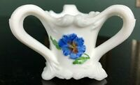 """Vintage hand painted """"PANSY"""" Milk Glass 3 Handled Toothpick Holder by Kemple"""