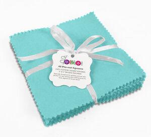 Soimoi Solid Aqua Blue Precut 5-inch Cotton Fabric Bundle Quilting-Hq7