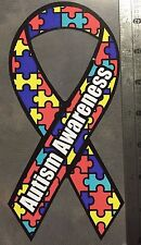 Autism Awareness (2) Ribbon Sticker Decal Puzzle Pieces FREE SHIPPING