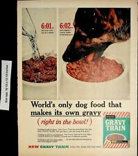 1960 Gravy Train Dog Food Bowl Gaines Vintage Print Ad 4801