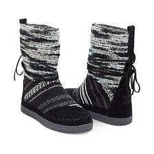 NEW Authentic TOMS Black Suede Textile Mix Women's Nepal Boots, Size 8