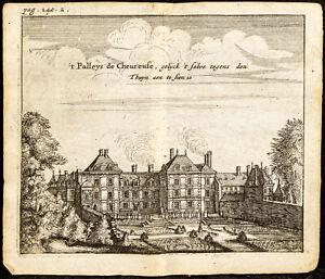 1661 - Parigi - Vista Di Hotel Di Luynes - Chevreuse - Incisione Antica